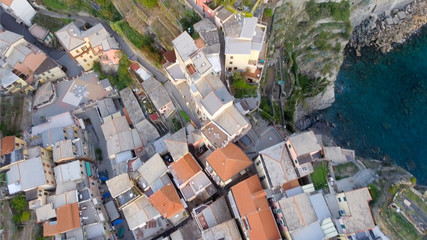 Overhead aerial view of Five Lands homes, Italy