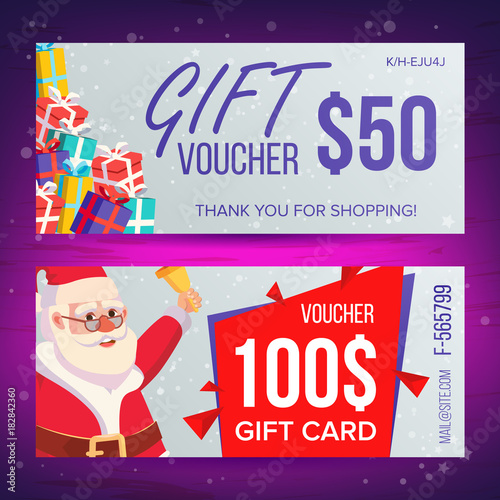 Christmas Voucher Template Vector Horizontal Card Happy New Year