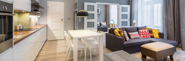 Contemporary apartment with dining table