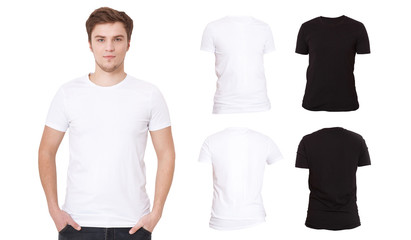T-shirt template. Front and back view. Mock up isolated on white background. Black Blank Shirt. Men