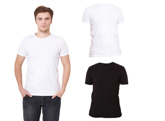 T-shirt template. Front view. Mock up isolated on white background. Shirt set. Shirts for men. Sale, advertising