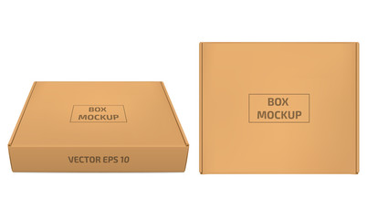 Cardboard box vector illustration. Brown box mockup isolaned on white background. Horizontal and top view. Packaging for cookies and sweets. Applicable for design presentation. Eps 10.
