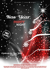 Vector Happy New Year night party invitation poster on the dark gray and red gradient background with Christmas tree, snowfall, waves and snowflakes.