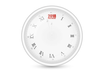 Happy new year 2018 white wall office clock, vector illustration