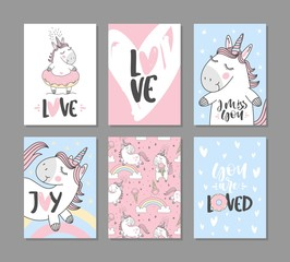 Greeting cards with cute unicorns. Hand written text.