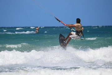 kitesurfer flying close up