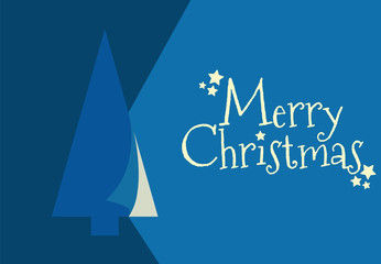 BLUE CHRISTMAS GREETING CARD WITH TREE AND MERRY CHRISTMAS TEXT