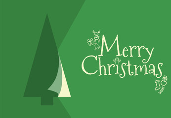 GREEN CHRISTMAS GREETING CARD WITH TREE AND MERRY CHRISTMAS TEXT