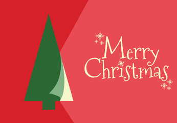 RED CHRISTMAS GREETING CARD WITH TREE AND MERRY CHRISTMAS TEXT