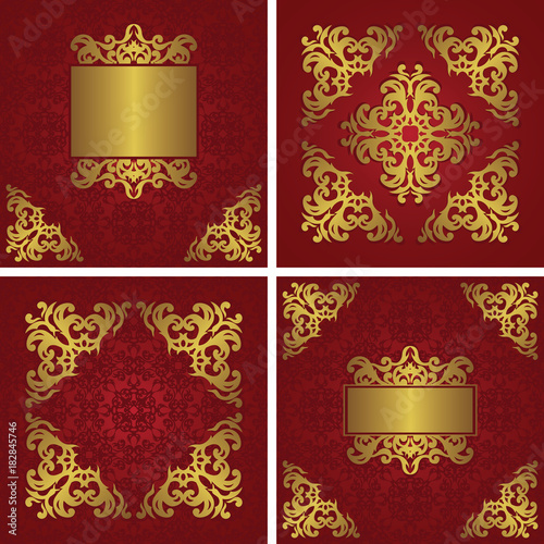 Set Of Invitations With Vintage Decoration Floral Frames And Decorative Elements In A Gold