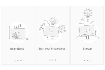 Project startup process, new products and services development from idea to implementation.Modern interface UX UI GUI screen template for smart phone or web site banners.