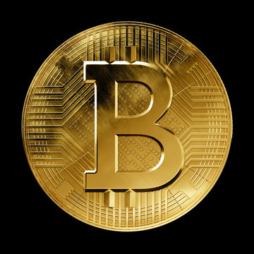 Bitcoin currency coin front on black background
