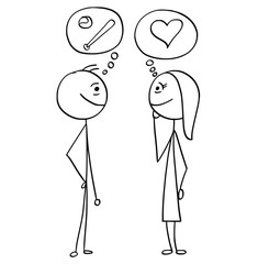Vector Cartoon of Man and Woman Talking about Baseball and Love