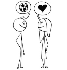 Vector Cartoon of Man and Woman Talking about Football Soccer and Love