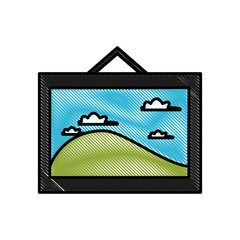 Landscape photo frame icon vector illustration graphic design