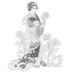 Japanese geisha woman in a kimono with peony flowers. Page for coloring book.