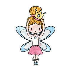 grated girl dancing ballet with crown and wings design