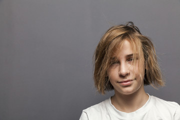 young teenager boy dried hair