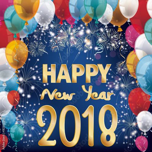 fireworks balloons banner happy new year 2018
