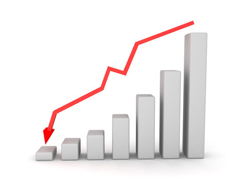 3D financial graph chart showing decline with downward red arrow above