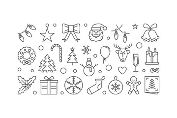 Christmas and New Year vector outline illustration or banner
