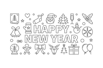 Happy New Year vector horizontal banner in thin line style