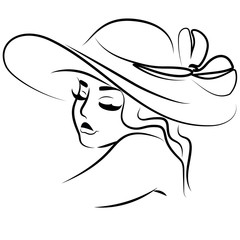 line illustration portrait of girl in hat