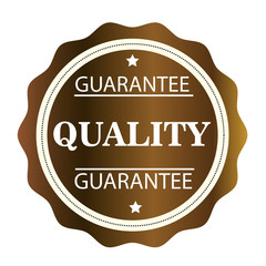 Guarantee Quality golden stamp. Vector illustration on white background.