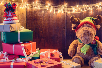 gifts and toys on wooden boards