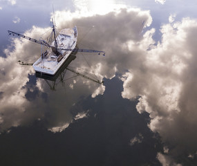 Aerial view of fishing boat in South Carolina