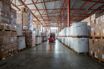 interior large warehouse with packaged goods
