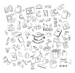Vector. Set of freehand drawing school icons.