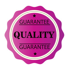 Guarantee Quality pink stamp. Vector illustration on white background.