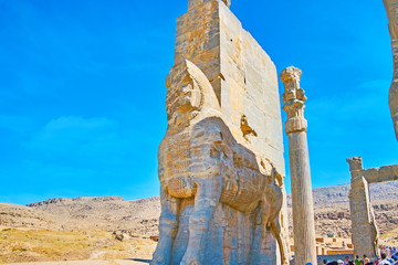 The statues on Persepolis Gate, Iran