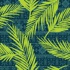 Foto op Plexiglas Tropische Bladeren Seamless exotic pattern with palm leaves.