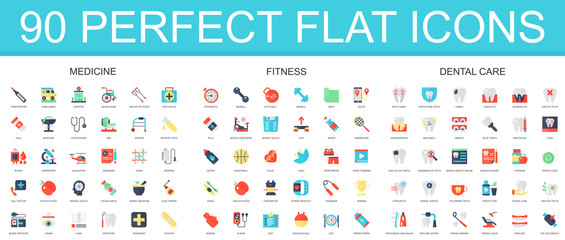 90 modern flat icon set of medicine, fitness, dental care icons.