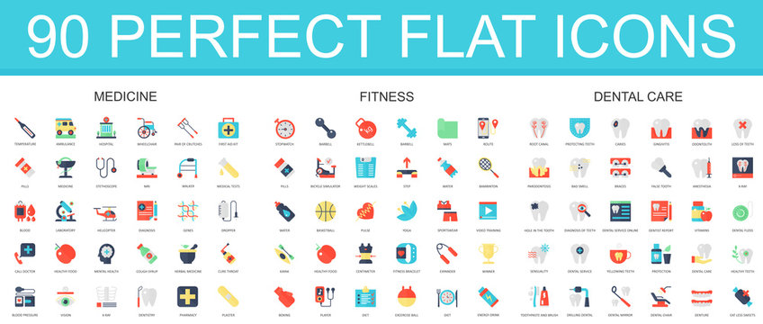 90 modern flat icon set of medicine, fitness, dental care icons.