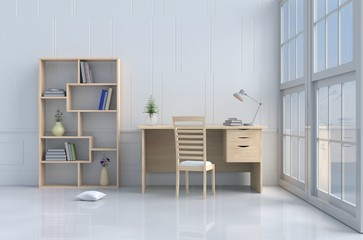 White reading room decorated with tree in vase,pillow,wood chair and desk,window,sky,lamp,bookcase,flower,book.White wall it is pattern, The sun shines through the window into the shadow. 3d render.