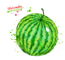 Watercolor illustration of whole watermelon