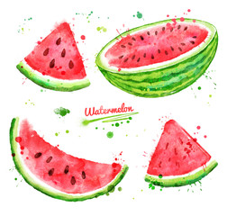 Watercolor set of watermelon