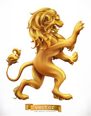 Golden Lion. Emblem. 3d realistic vector icon
