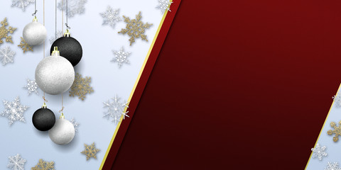 Merry Christmas - banner with gold glitter nad snow snowflakes with baubles ( xmas , holiday , new year )
