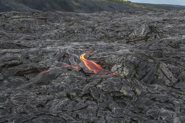 Hot lava flow from near on Hawaii Big island