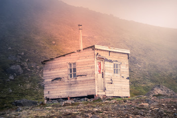Fotobehang Poolcirkel Iceland: Old house in the moutain