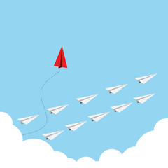 Vector of paper red airplane with white airplane, leadership, teamwork concept.