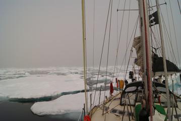 Foto op Canvas Arctica Greenland, arctic: sailing boat trough the iceberg, risk, danger