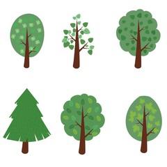 set of simple cartoon tree , vector illustration.