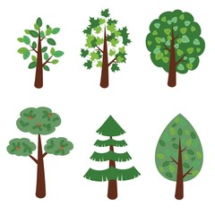set of simple cartoon deciduous trees and conifers , vector illustration.