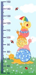Children meter wall with a cute smiling cartoon snail and measuring ruler. Vector illustration of snail isolated on a background of sky and grass.