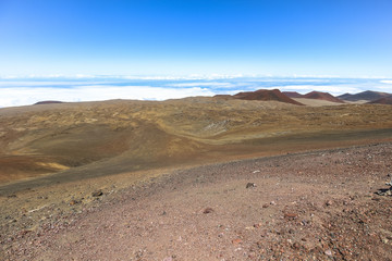 View over the landscape on summit of Mauna Kea, Hawaii
